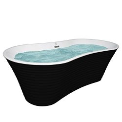 AKDY 67″ White Black Acrylic Freestanding Soaking SPA Bathroom Oval Bathtub Overflow