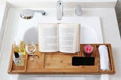 DozyAnt Luxury Bamboo Bathtub Caddy Tray – Wide Wine Glass Holder – Reading Shelf Su ...
