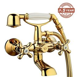 GAPPO Wall Mount Tub and Shower Faucet With Swivel Wall Connector & Handheld Shower, Polishe ...