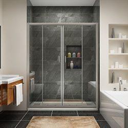 SUNNY SHOWER BP04P4 Frameless Sliding Shower Doors, 1/4″ Glass Chrome Finish, 60″ L  ...