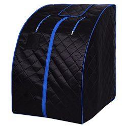 Black Portable Far Infrared Steam Sauna Spa With Chair Full Body Slimming Loss Weight Detox Ther ...