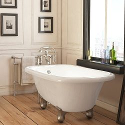 Luxury 54 inch Small Modern Clawfoot Tub in White with Stand-Alone Freestanding Tub Design, Incl ...