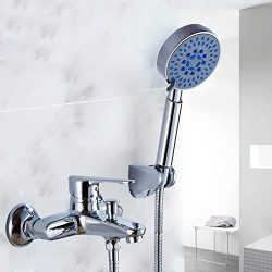 Hiendure Single Handle Wall Mounted Brass Bathtub Faucet with Five Function Handheld Shower Head ...