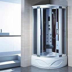 KOKSS 8002-A Corner Steam Shower Enclosure with Hydro Massage Jets & Foot Massage
