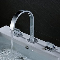 Rozin Two Handles Bath Mixer Taps Widespread Waterfall Bathroom Sink Faucet or Bath Tub Faucet C ...