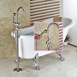 Senlesen Floor Mounted Bathroom Faucet Free Standing Bath Tub Filler Hot Cold Water Taps with Ha ...