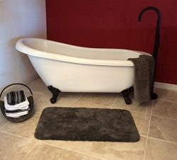 Freestanding 67″ Acrylic Slipper Bathtub with NO Faucet Holes & Oil Rubbed Bronze Feet ...