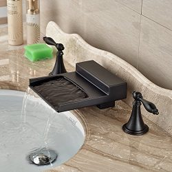 Rozin Deck Mounted 3 Holes Widespread Bathtub Faucet Waterfall Spout Mixer Tap Oil Rubbed Bronze