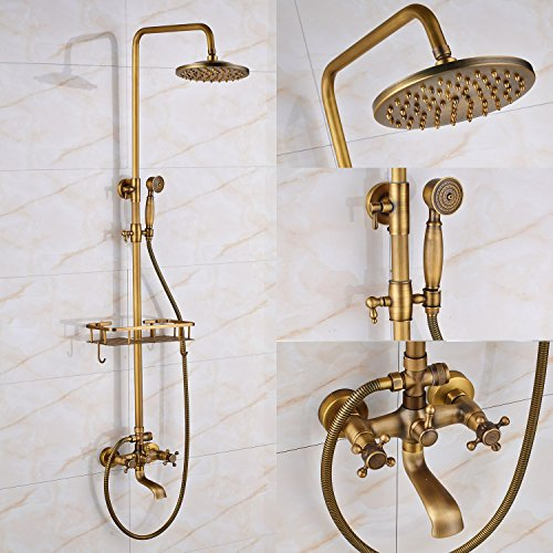 Rozin Antique Brass Bathtub Shower Faucet Set With Shelf Holder Wall
