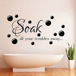 Kililaya Waterproof Vinyl Bathroom Wall Sticker Shower Room Wall Mural Bathtub Decal Removable W ...