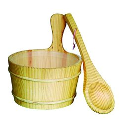 ALEKO WZ01 Pine Wood Sauna Bucket with Plastic Liner and Water Scoop