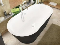 Atlantis Whirlpools 3270vy Valley Oval Soaking Bathtub 32 X 70 Ctr Drain Wh Inside Black Outside