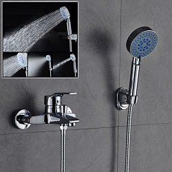 ROVATE Wall Mounted Bathtub Faucets & Showerheads Brass Single Handle Bathtub Shower Combo F ...