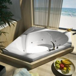Atlantis Whirlpools 6060vwr Venus Corner Whirlpool Bathtub, 60 X 60, Center Drain, White