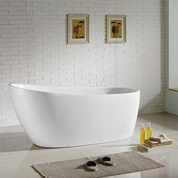 MAYKKE Covina 67 Inches Modern Oval Light Acrylic Bathtub Easy to Install Freestanding White Soa ...