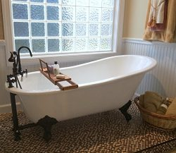 61″ Cast Iron Slipper Tub with 7″ Faucet hole Drillings & Oil Rubbed Bronze Feet ...
