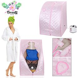 2l Portable Steam Sauna Tent SPA Detox Weight Loss w/ Chair Pink