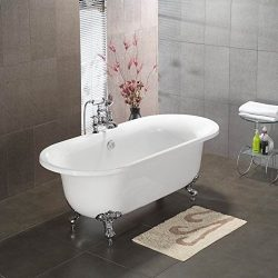 Acrylic Double Ended Clawfoot Bathtub 70″ X 30″ with No Faucet Drillings and Polishe ...