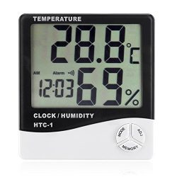 Flexzion Digital Hygrometer Thermometer Temperature Humidity Meters With Alarm Clock LCD Display ...