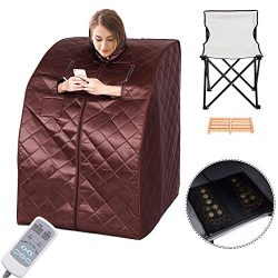 Portable Far Infrared Sauna Spa Full Body Slimming Loss Weight Detox Therapy – Coffee