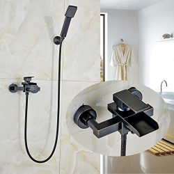 Rozin Wall Mounted Waterfall Spout Bathtub Faucet with Handheld Shower Oil Rubbed Bronze