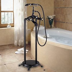 Luxury Floor Standing Bathtub Mixer Faucet with Handheld Shower Oil Rubbed Bronze