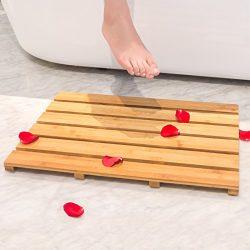 Bath Shower Mat Bamboo Bathroom Floor Non-sliding Square Spa Sauna Mat with 22×15-Inch by B ...