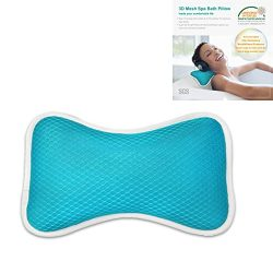 Non-Slip Bath Pillow with Suction Cups, Supports Neck and Shoulders Home Spa Pillows for Bathtub ...