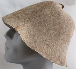 "Sauna Hat ""Simple Brown"" unisex. Thick 2.5 mm Wool"