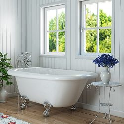 Luxury 54 inch Small Clawfoot Tub with Vintage Tub Design in White, includes Polished Chrome Bal ...