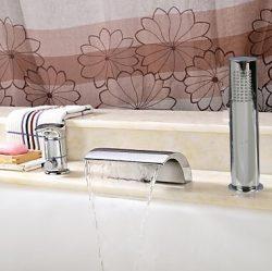 Bathtub Faucet – Contemporary – Handshower Included / Waterfall Chrome)HiMyLEN ̶ ...