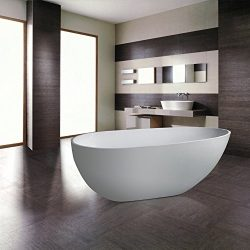 MAYKKE Naples 67 Inches Modern Oval Acrylic Bathtub Freestanding White Tub in Bathroom cUPC cert ...