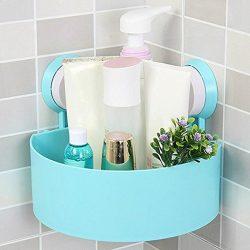 Binmer(TM) Suction Cup Bathroom Kitchen Corner Storage Rack Organizer Plastic Shower Shelf (Blue)