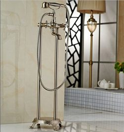 GOWE Nickel Brushed Floor Mount Bathroom Waterfall Free Standing Bath Tub Faucet Set Bathtub Mix ...