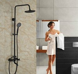 GOWE Luxury Bath Tub Shwoer Set Oil Rubbed Bronze Shower Faucet Double Lever With Handheld Exposed