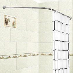 Stretchable L Shaped Bathtub Corner Shower Curtain Rod Rack 304 Stainless Steel Material Install ...