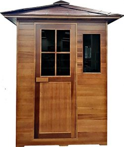 3 Person Outdoor Sauna Weather Resistant Red Cedar Wood , Shingle Roof, 110v, 7XL Carbon Fiber F ...