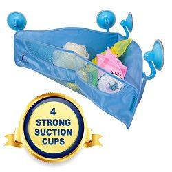 Bath Toy Organizer – 4 Strong Suction Cups – Bathtub Toys Holder Storage Net – ...