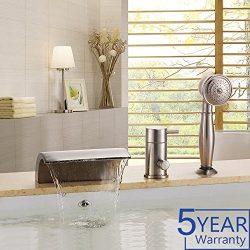 Gloria Modern Waterfall Brushed Nickel Bathtub Faucet Set with Handheld Shower 1 Handle 3 Hole B ...