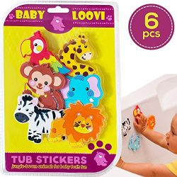 Bathtub Stickers Suction Bath Toys for Fun and Educational Bathing Time 6pcs Safe Suction Animal ...