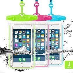 Universal Waterproof Case, FITFORT 3 Pack Cellphone Dry Bag/ Pouch, Transparent Sensitive PVC Sc ...