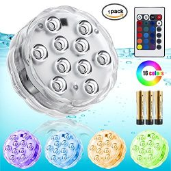 Underwater Lights for Centerpieces,IR Remote Controlled RGB Waterproof Battery Pond Lights for H ...