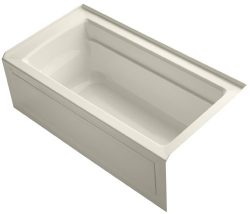 KOHLER K-1123-RA-47 Archer 5-Foot Bath with Comfort Depth Design, Integral Apron and Right-Hand  ...