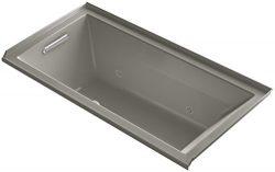 KOHLER 1167-LGCR-K4 Underscore 60-Inch x 30-Inch Alcove BubbleMassage Air Bath with Tile Flange, ...