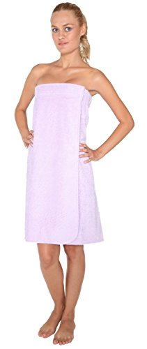 Arus Women's Organic Turkish Cotton Adjustable Closure Spa Shower and Bath Wrap L/XL Lilac
