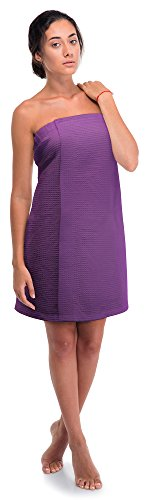 Women's Waffle Spa Body Wrap with Adjustable Velcro (One Size, Lavender)