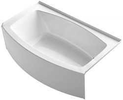 KOHLER K-1118-RA-0 Expanse 60″ x 30″ To 36″ Curved Alcove Bath with Integral A ...