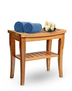 Bamboo Shower Seat Bench Spa Bath Deluxe Organizer Stool With Storage Shelf For Seating Perfect  ...