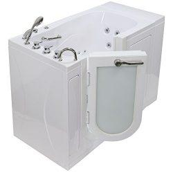 Ella OA3052M-L Malibu Acrylic Microbubble and Hydro Massage Walk-in Bathtub, Outward Swing Door, ...