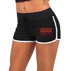 ZhiqianDF Women's ASTEP Black Athletic Gym XL Adjustable Low Waist Hot Shorts